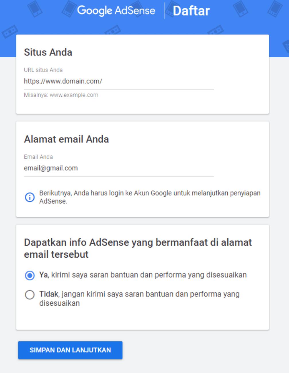 Cara Mendaftar Google Adsense dari Blog Blogspot