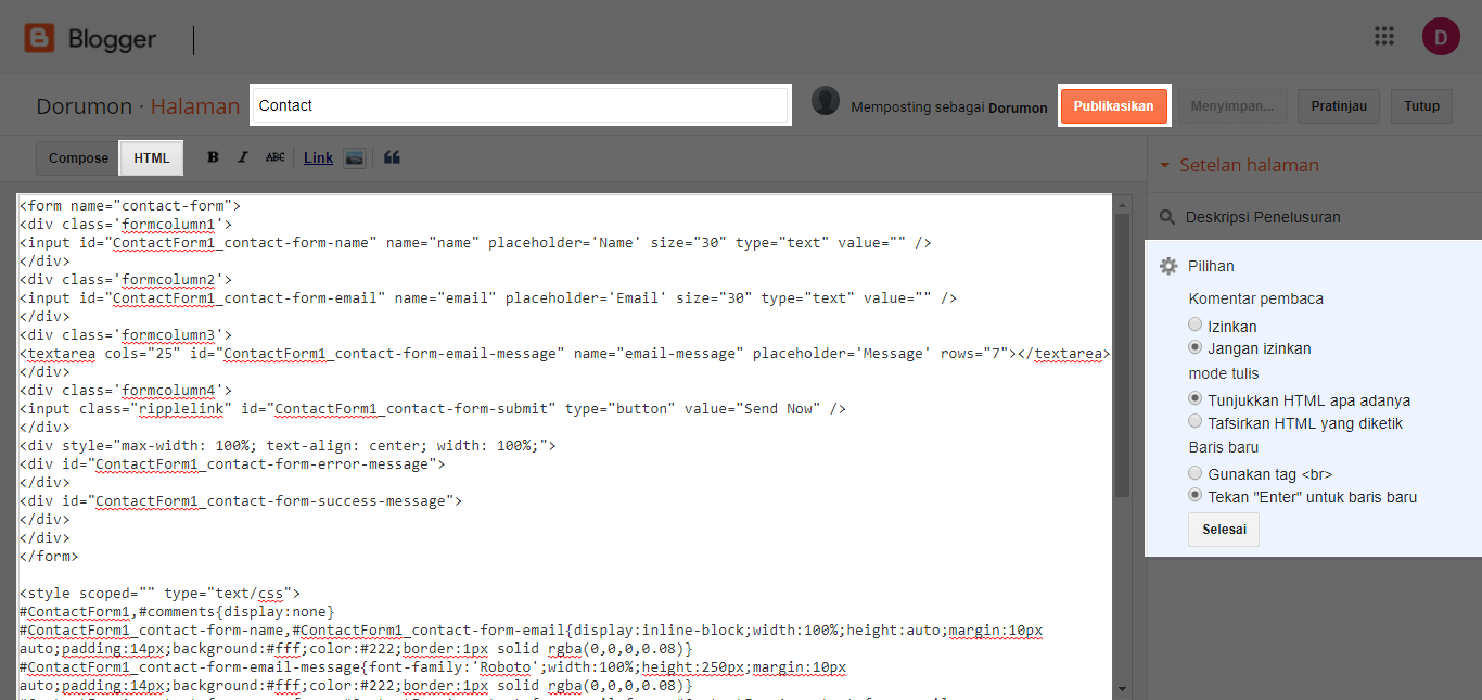 Panduan Membuat Contact Form di Blogger.com dengan Google Docs