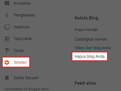 Mem-backup, mengimpor, atau menghapus blog