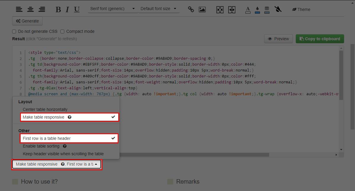 Jika sudah mengatur, scroll ke bawah » klik tombol Extra options... » kalian centang Make table responsive dan First row is a table header