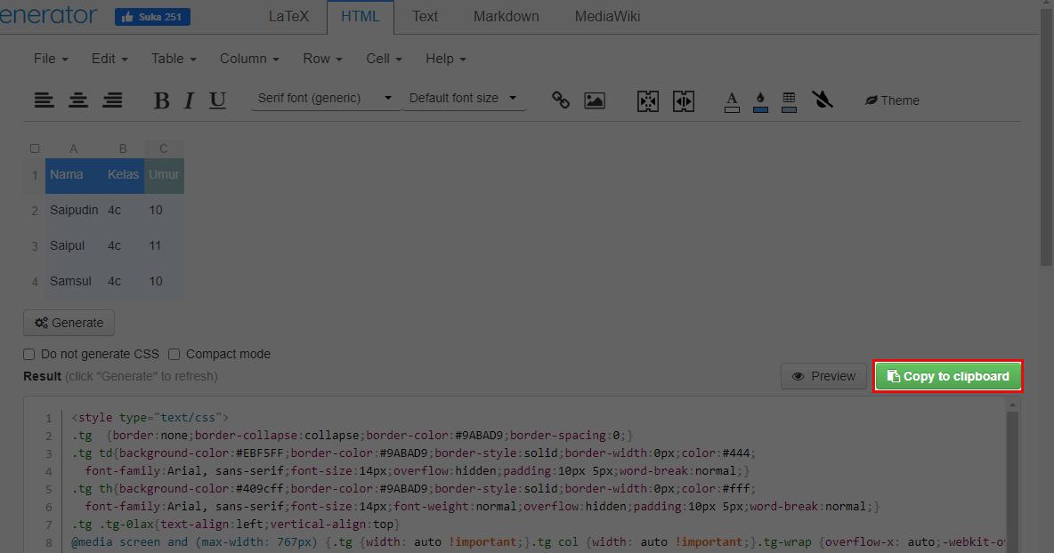 Terakhir klik tombol Copy to clipboard, maka secara otomatis code akan tercopy